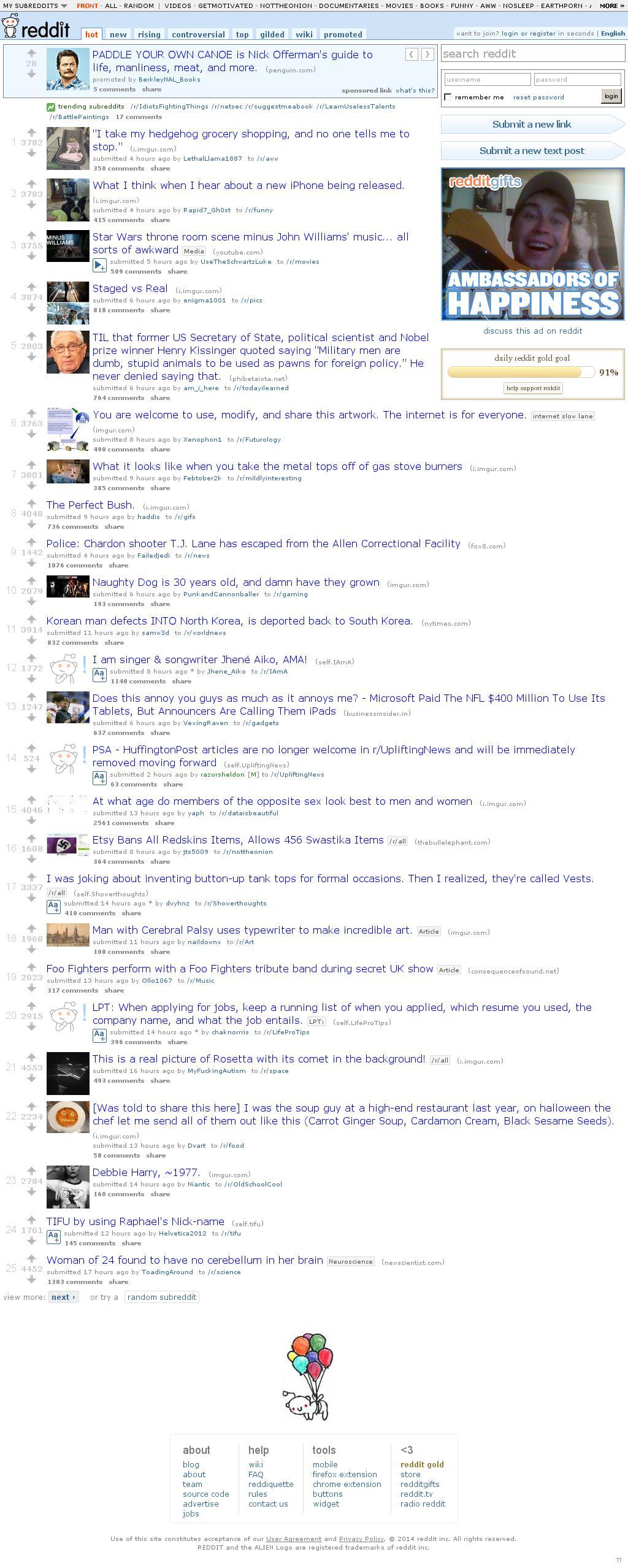 Reddit at Friday Sept. 12, 2014, 6:14 a.m. UTC