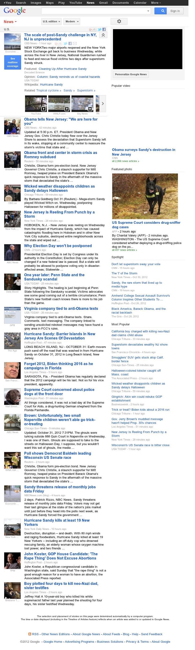 Google News: U.S. at Thursday Nov. 1, 2012, 1:11 a.m. UTC
