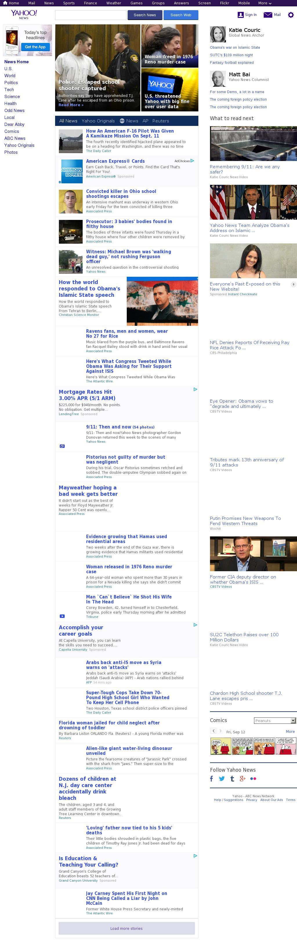 Yahoo! News at Friday Sept. 12, 2014, 6:20 a.m. UTC