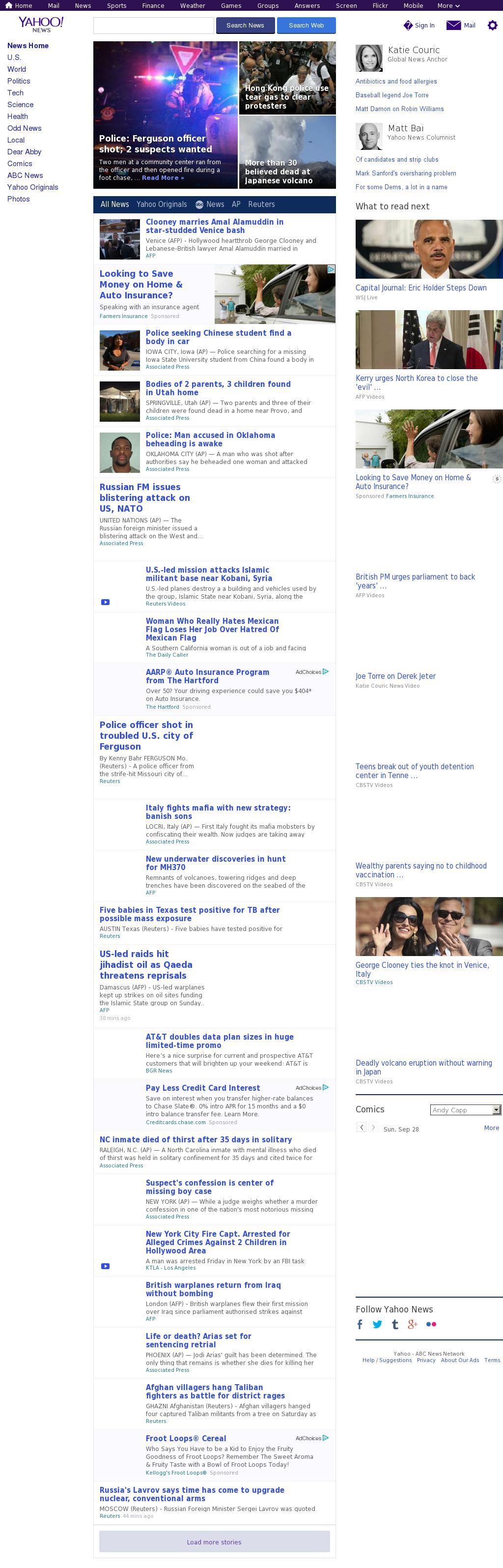 Yahoo! News at Sunday Sept. 28, 2014, 11:19 a.m. UTC