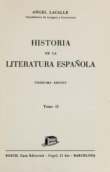 Cover of: Historia de la literatura española | Lacalle, Angel