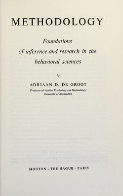 Cover of: Methodology | Adrianus Dingeman de Groot
