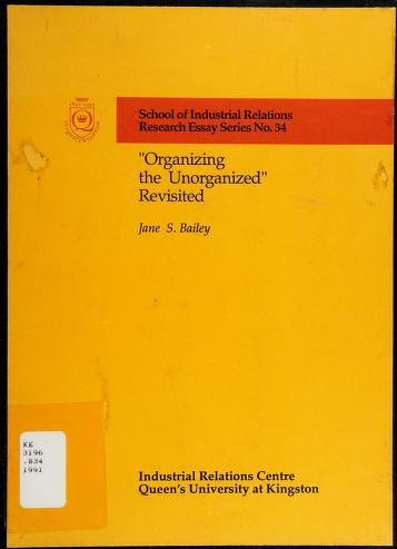 """Cover of: """"Organizing the unorganized"""" revisited 