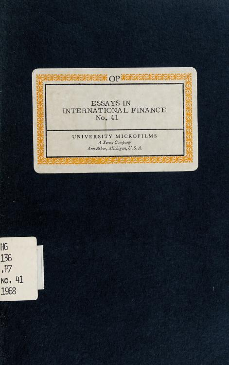 The problem of international liquidity and the multiple-currency standard by Friedrich A. Lutz