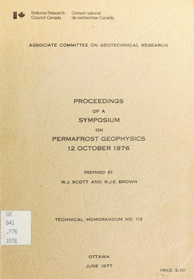 Proceedings of a Symposium on Permafrost Geophysics, 12 October 1976 by Symposium on Permafrost Geophysics (3d 1976 Vancouver, B.C.)